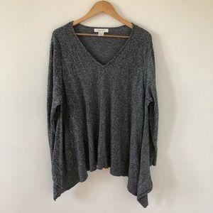 Ellen Tracy Flowy Vneck Gray Sweater Size 2x